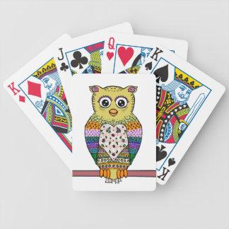 Búho colorido lindo - blanco cartas de juego