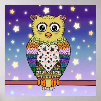 Búho colorido lindo en noche encendida estrella impresiones