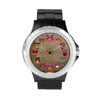 Búho colorido retro relojes