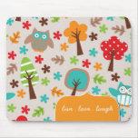 Búho colorido y caprichoso Mousepad Tapetes De Raton