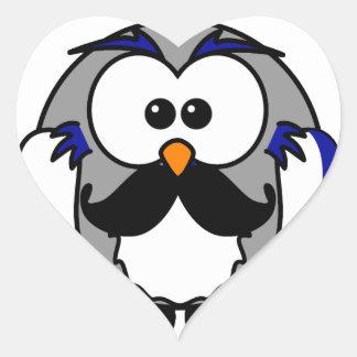 Búho con el bigote del bigote del manillar pegatina en forma de corazón