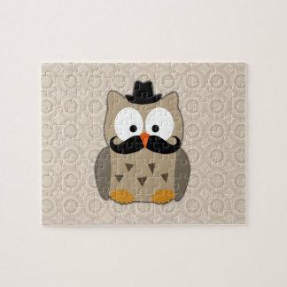 Búho con el bigote y el gorra puzzle