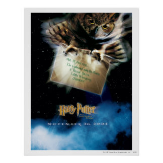 Búho con el cartel de película de la letra impresiones