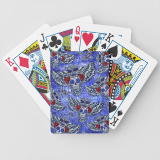 Búho con el cráneo del azúcar en blanco y azul roj baraja cartas de poker