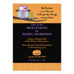Búho con el cumpleaños de Halloween del Eyepatch d Invitaciones Personales