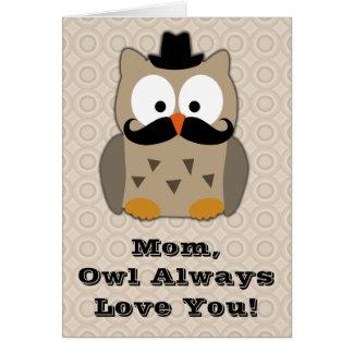Búho con el día de madre del bigote tarjeta