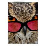 búho con hilarante divertido de las gafas felicitación