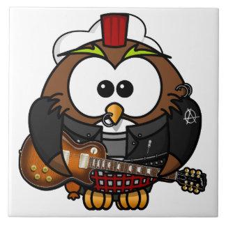 Búho con la guitarra teja  ceramica