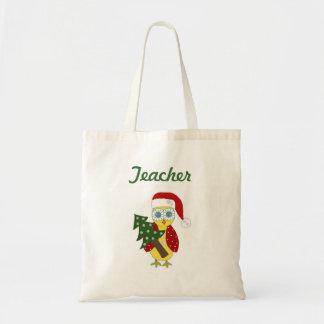 Búho con un árbol de navidad - profesor bolsa tela barata