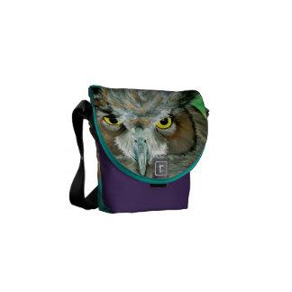 Búho de acrílico (púrpura/turquesa) bolsa de mensajeria