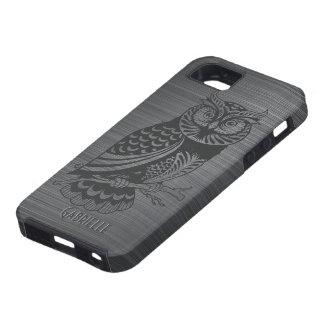 Búho de aluminio y negro cepillado gris metálico iPhone 5 fundas