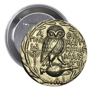 Búho de Athena Pin Redondo 7 Cm