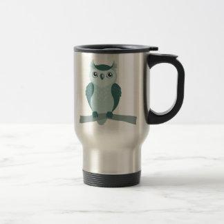 Búho de cuernos lindo - verde de menta tazas de café