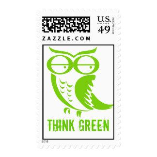 Búho de Día de la Tierra - piense el verde Sellos