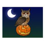 Búho de Eagle del eurasiático de Halloween Postales