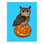 Búho de Eagle del eurasiático de Halloween Tarjeta Postal