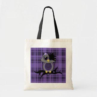 Búho de Emo en bolso de la tela escocesa Bolsa Tela Barata