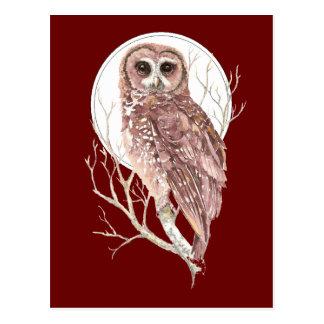 Búho de encargo de la acuarela en el árbol, luna,  postales