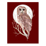 Búho de encargo de la acuarela en el árbol, luna,  tarjetas postales