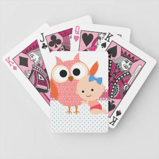 Búho de encargo de la fiesta de bienvenida al bebé barajas de cartas