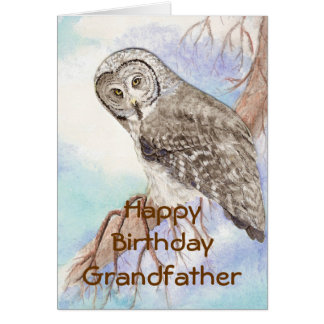 Búho de gran gris de abuelo del cumpleaños, natura tarjeta de felicitación