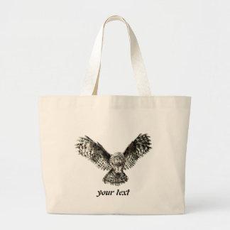 Búho de gran gris de la acuarela, pájaro de la bolsa de tela grande