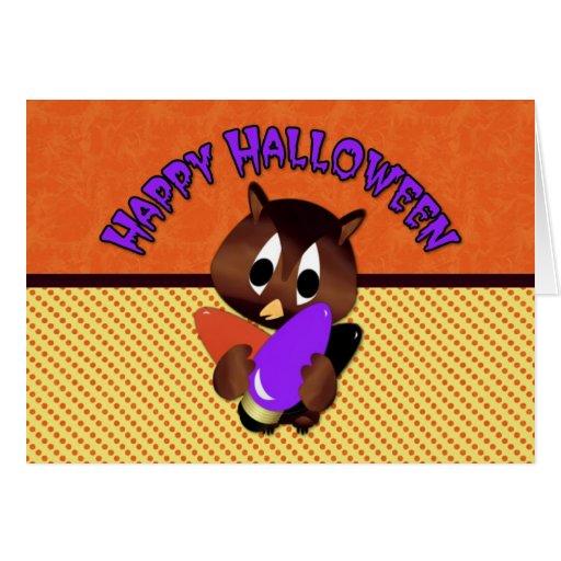 Búho de Halloween con las luces Tarjeta