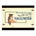 Búho de Halloween del vintage del KRW Postal
