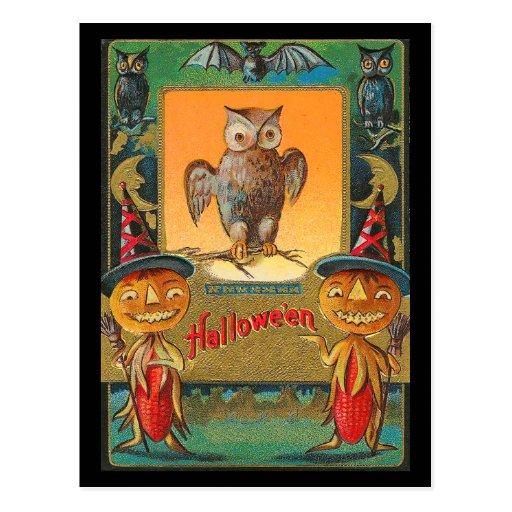 Búho de Halloween del vintage Postales