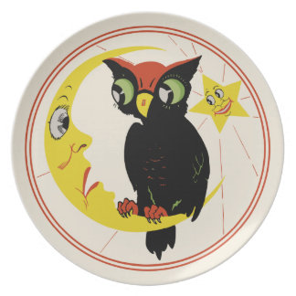 Búho de Halloween del vintage y placa de la luna Platos