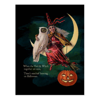 Búho de Halloween del vintage y postal de la bruja