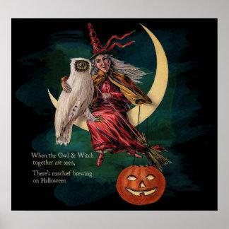 Búho de Halloween del vintage y poster de la bruja