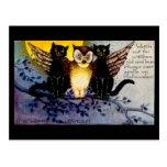 Búho de Halloween y gatos negros Postal