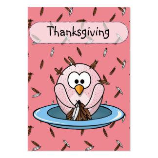 Búho de la acción de gracias tarjetas de visita