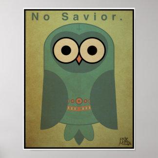 búho de la Anti-Religión 11x14 esquema de color Poster