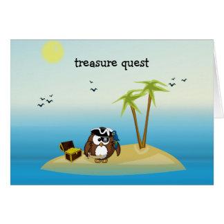 búho de la búsqueda del tesoro tarjeta de felicitación
