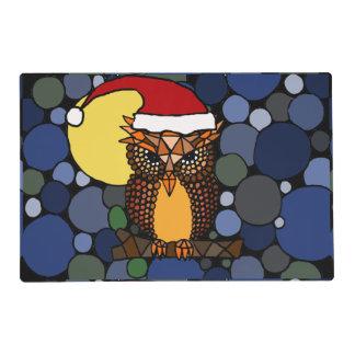 Búho de la diversión en el navidad Placemat del Tapete Individual