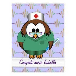 búho de la enfermera tarjetas postales