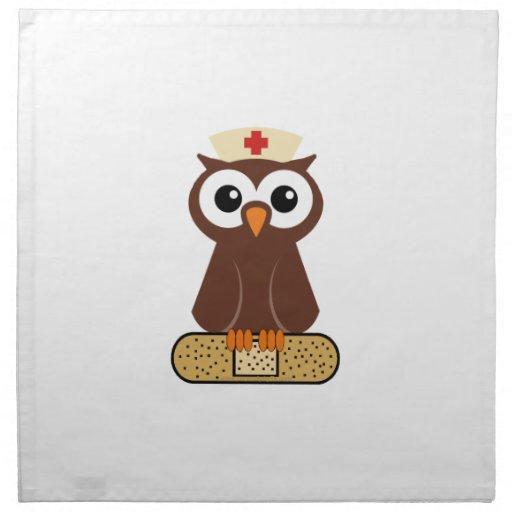 Búho de la enfermera (w/bandaid) servilletas