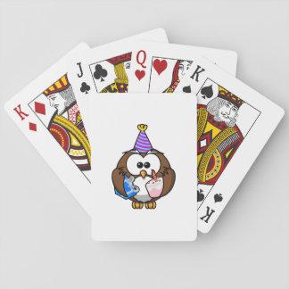 Búho de la fiesta de cumpleaños cartas de juego