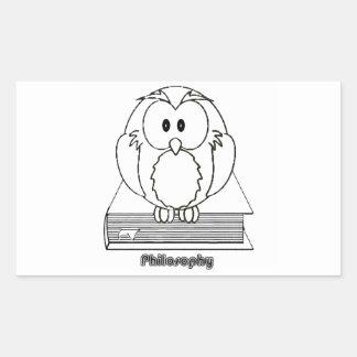 Búho de la filosofía del livro de COM de Filosofia Pegatina Rectangular