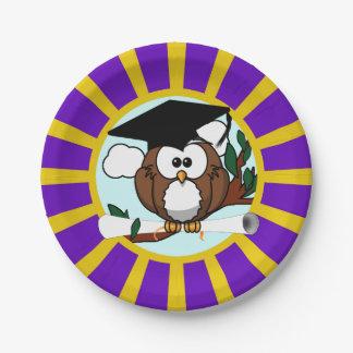 Búho de la graduación con colores de la escuela de platos de papel