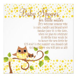 Búho de la mamá y del bebé invitacion personalizada