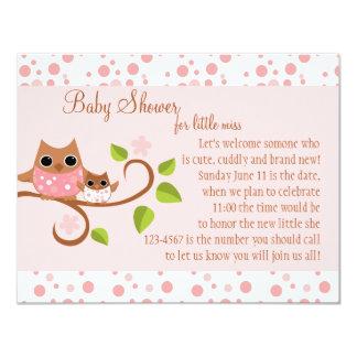 """Búho de la mamá y del bebé invitación 4.25"""" x 5.5"""""""