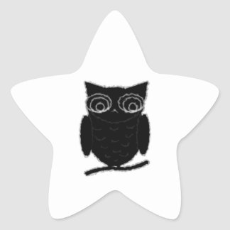 Búho de la mancha de tinta pegatina en forma de estrella