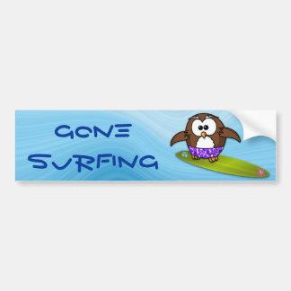 búho de la persona que practica surf pegatina para auto