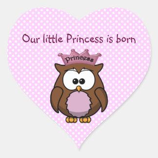 Búho de la princesa calcomanías de corazones