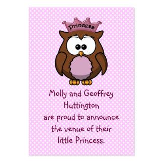 Búho de la princesa tarjetas de visita grandes