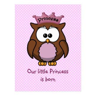 Búho de la princesa tarjeta postal
