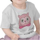 Búho de la señora rosada con la pajarita camisetas